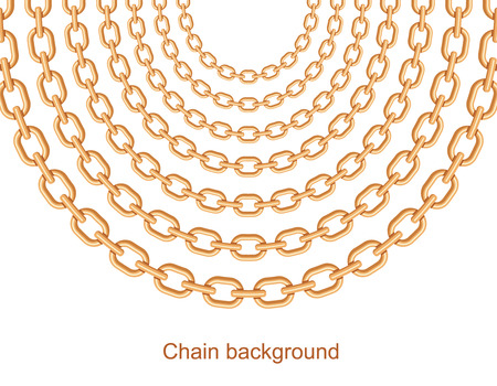Background with chains golden metallic necklace. On white. Vector illustration Ilustração