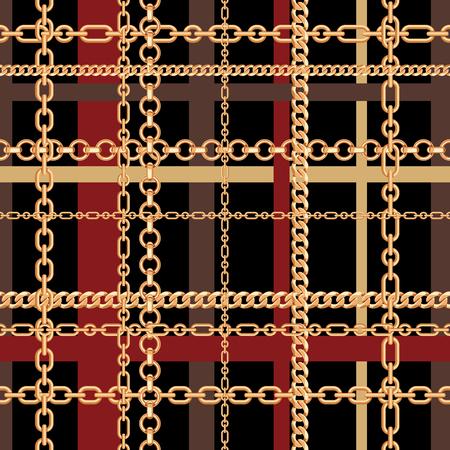 Gold chains tartan seamless pattern. Vector illustration. Ilustrace