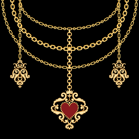 Background with chains golden metallic necklace and pendant with heart. On black. Vector illustration 矢量图像