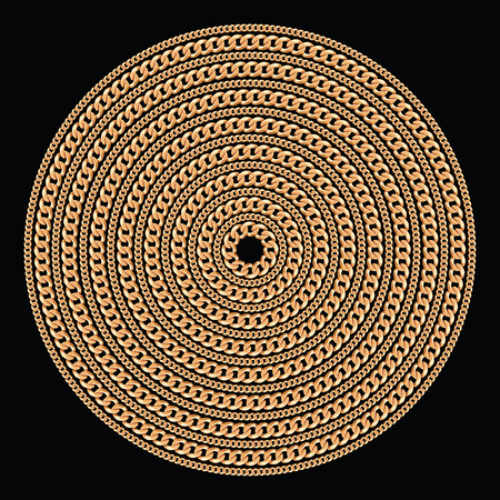 Round pattern made with golden chains. On black. Vector illustration. Can use for t shirt design, textile, clothes, as paper print Banco de Imagens - 124960871
