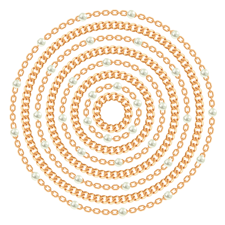 Round pattern made with golden chains and pearls. On white. Vector illustration. Can use for t shirt design, textile, clothes, as paper print