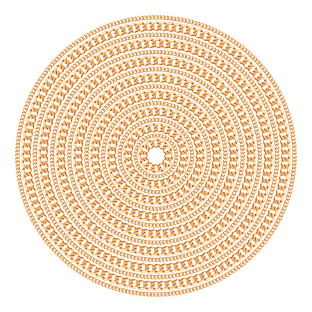 Round pattern made with golden chains. Isolated on the white background. Vector illustration. Can use for t shirt design, textile, clothes, as paper print Banco de Imagens - 124960873