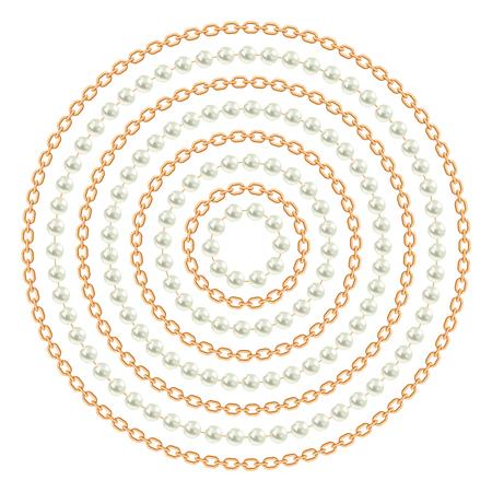 Patrón redondo realizado con cadenas doradas y perlas. En blanco. Ilustración vectorial. Se puede utilizar para el diseño de camisetas, textiles, ropa, como impresión en papel.