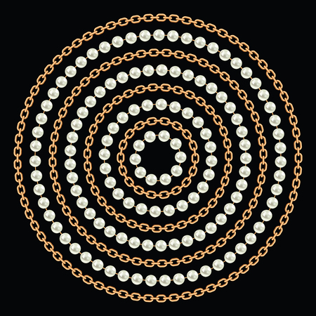 Round pattern made with golden chains and pearls. On black. Vector illustration. Can use for t shirt design, textile, clothes, as paper print Ilustração