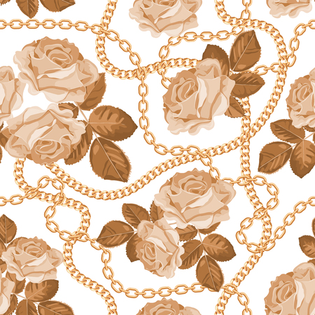 Seamless pattern background with golden chains and beige roses. On white. Vector illustration. Ilustração