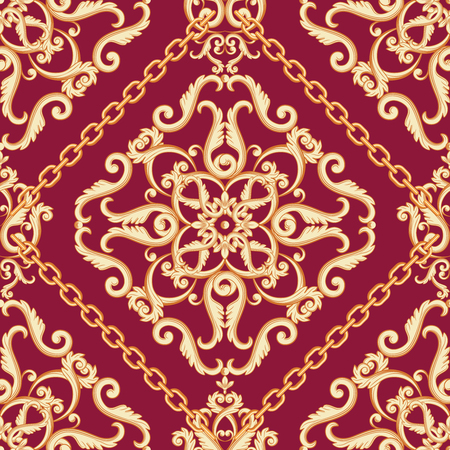 Seamless damask pattern. Golden beige on pink purple texture with chains. Vector illustration. Can use as background, t shirt design, textile print, clothing and linen, wallpapers, wrapping paper