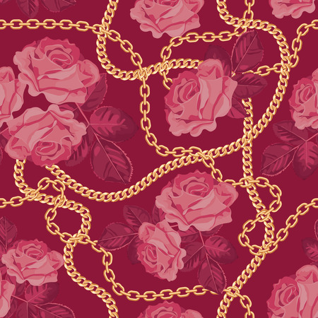 Seamless pattern background with golden chains and pinkroses. On purple pink. Vector illustration.