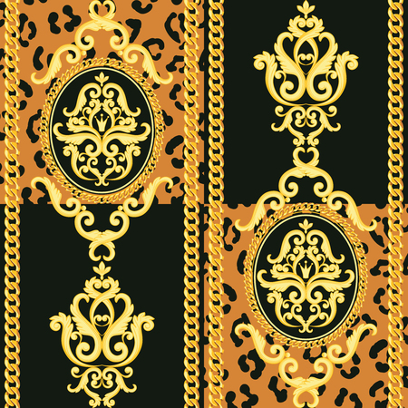 Seamless damask pattern. Gold on black and animal leopard texture with chains. Vector illustration. Can use as background, t shirt design, textile print, clothing and linen, wallpapers, wrapping paper