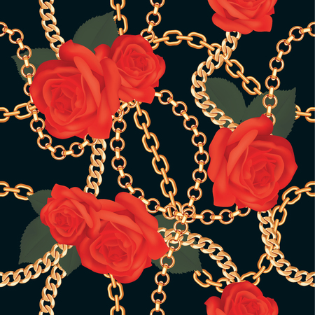 Seamless pattern background with golden chains and red realistic roses. On black. Vector illustration. Ilustração