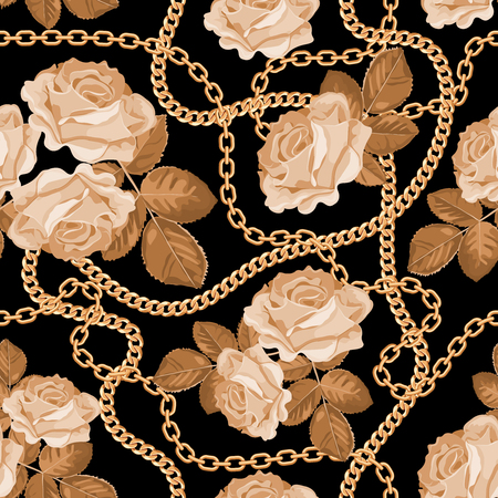 Seamless pattern background with golden chains and beige roses. On black. Vector illustration.