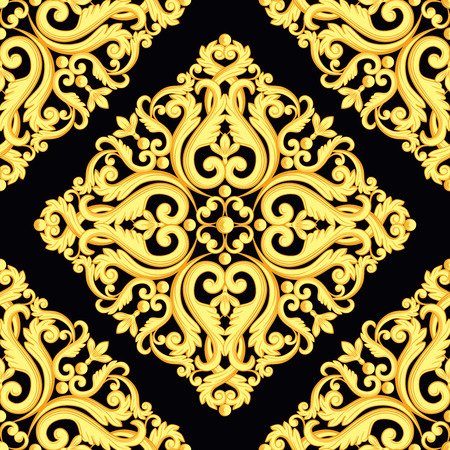 Seamless damask pattern. Yellow gold on black texture. Vector illustration. Can use as background, t shirt design, textile print, clothing and linen, wallpapers, wrapping paper Ilustrace