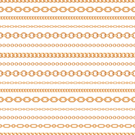 Seamless pattern of Gold chain lines on white background. Vector illustration. Can use as background, t shirt design, textile print, clothing and linen, wallpapers, wrapping paper