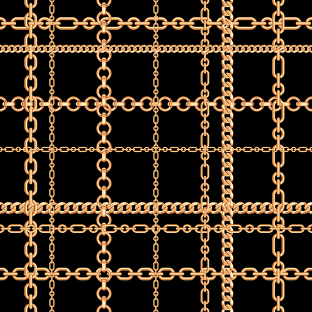 Gold chains on black. Seamless pattern. Vector illustration. Can use as background, t shirt design, textile print, clothing and linen, wallpapers, wrapping paper