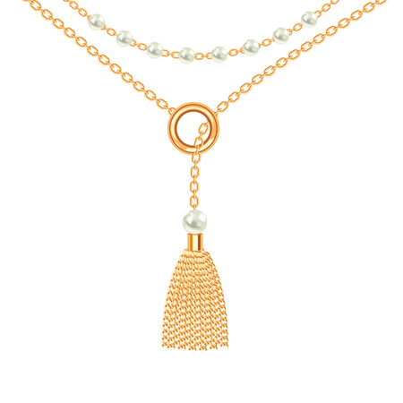 Background with golden metallic necklace. Tassel, pearls and chains. On white. Vector illustration.