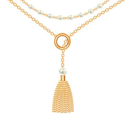 Fond avec collier métallique doré. Gland, perles et chaînes. Sur blanc. Illustration vectorielle.