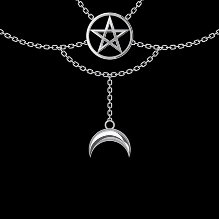 Background with silver metallic necklace. Pentagram pendant and chains. On black. Vector illustration. Ilustração