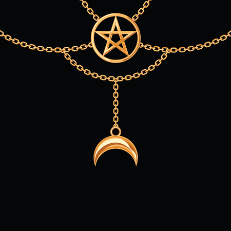 Background with golden metallic necklace. Pentagram pendant and chains. On black. Vector illustration. Illustration