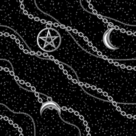Seamless pattern background with pentagram and moon pendants on silver metallic chain. On black. Vector illustration. Ilustração