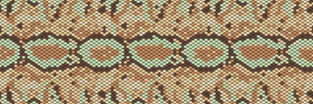 Snakeskin seamless pattern. Realistic texture of snake or another reptile skin. Beige, green and brown colors. Vector illustartion. Ilustrace