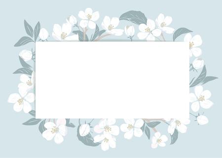 Modello di carta di fiori di ciliegio con testo. Cornice floreale su sfondo blu pastello. Fiori bianchi. Illustrazione vettoriale.