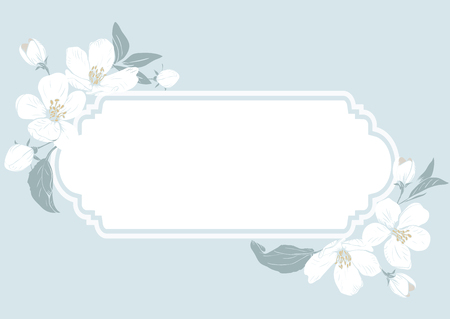 Cherry blossom card template with text. Floral frame on pastel blue background. White flowers. Vector illustration. Vecteurs