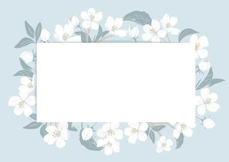 Cherry blossom card template with text. Floral frame on pastel blue background. White flowers. Vector illustration.