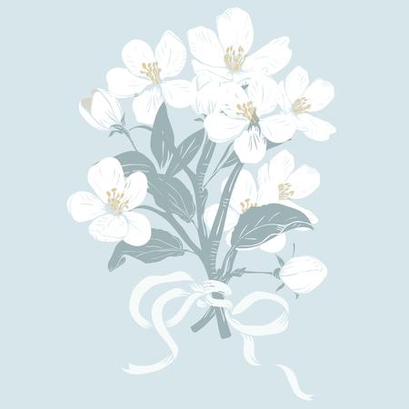 Arbre en fleurs. Bouquet de branches de fleurs blanches botaniques dessinés à la main sur fond bleu. Illustration vectorielle. Peut être utilisé pour les cartes de vœux, les invitations de mariage, les motifs.