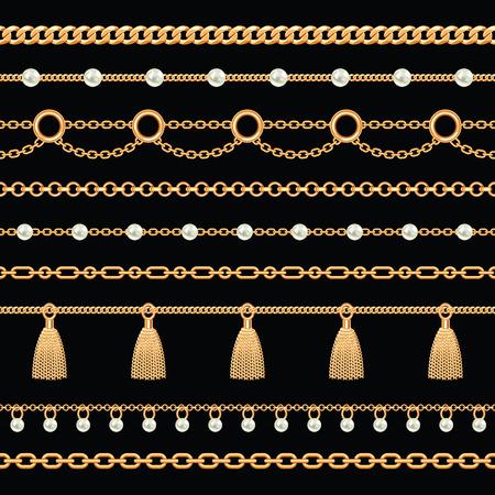 Set collezione di bordi di catene metalliche dorate con perle e nappe. Sul nero. Illustrazione vettoriale.
