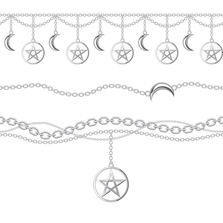 Set collection of silver metallic chain borders with pentagram and moon pendant. On white. Vector illustration.