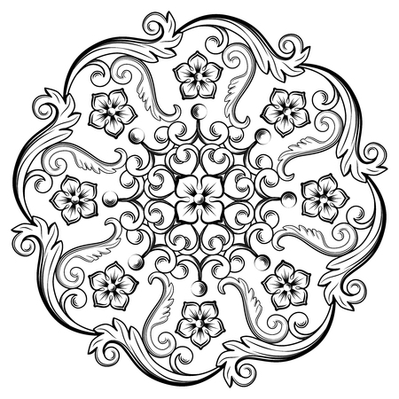 Beautiful round ornamental element for design in black and white colors. Vector illustration.