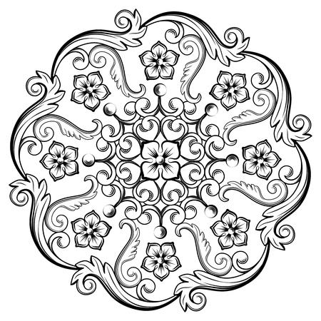 Bel élément ornemental rond pour la conception dans les couleurs noir et blanc. Illustration vectorielle.