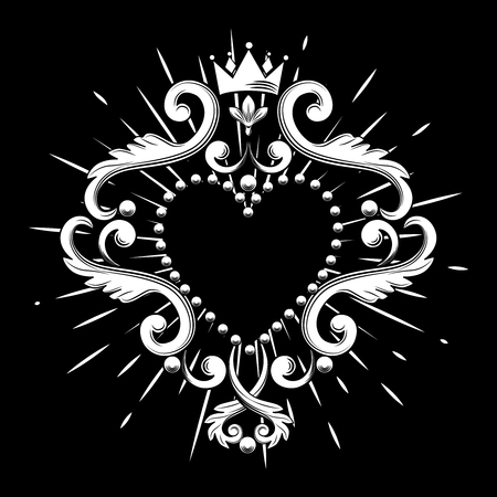 Beautiful ornamental heart with crown in white color isolated on black background. Vector illustration.