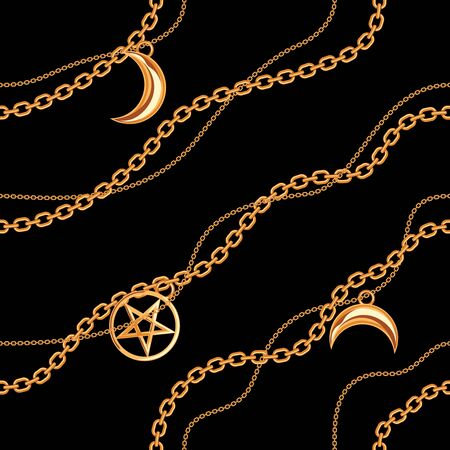 Seamless pattern background with pentagram and moon pendants on golden metallic chain. On black. Vector illustration