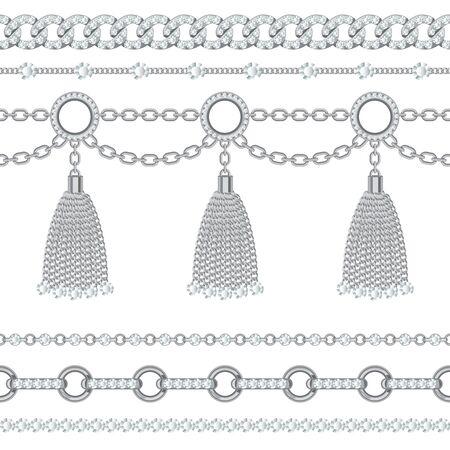 Définir une collection de bordures en chaîne métallique argentée avec des pierres précieuses et des glands. Sur blanc. Illustration vectorielle