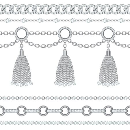 Set collection of silver metallic chain borders with gemstones and tassels. On white. Vector illustration