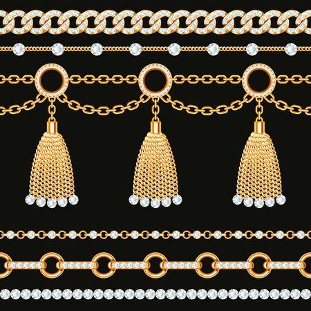 Set collection of golden metallic chain borders with gemstones and tassels. On black. Vector illustration Vektorové ilustrace