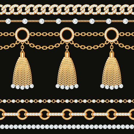 Set collection of golden metallic chain borders with gemstones and tassels. On black. Vector illustration