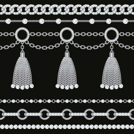 Set collection of silver metallic chain borders with gemstones and tassels. On black. Vector illustration