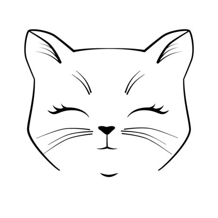Cat cute face. Black outline drawing kitten character. Vector illustration for greeting card, invitation.