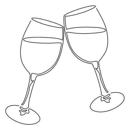 Continuous line drawing. Glasses of wine. Vector illustration.
