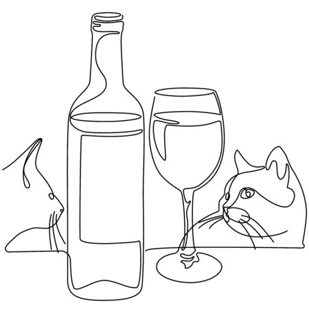 Continuous line drawing. Bottle and glass of wine. Cats. Vector illustration.
