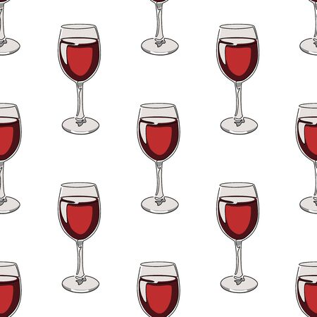 Seamless pattern background with glasses of red wine. Vector illustration. Иллюстрация