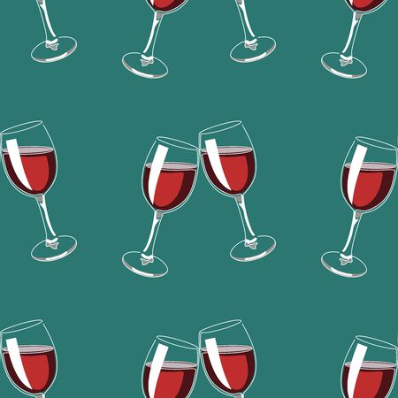 Seamless pattern background with glasses of red wine. Vector illustration. 矢量图像