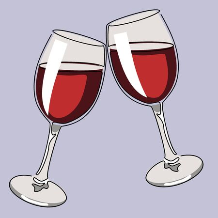 Colored continuous line drawing. Glasses of wine. Vector illustration.  イラスト・ベクター素材