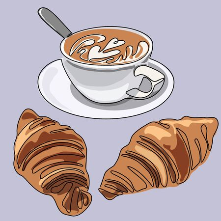 Colored continuous line drawing of cup of coffee or cappuccino with croissants. Vector illustration.