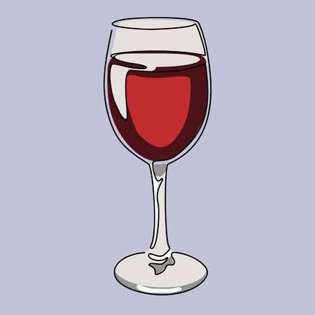 Colored continuous line drawing. Glass of red wine. Vector illustration.