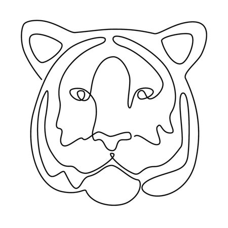 Continuous line drawing. Tiger head. Vector illustration. In black colour isolated on white background.