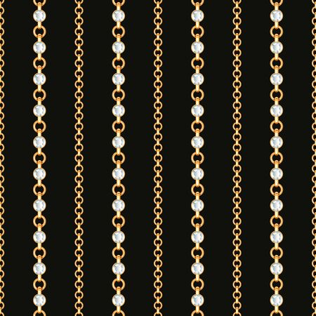 Seamless pattern of Gold chain lines on black background. Vector illustration Illustration