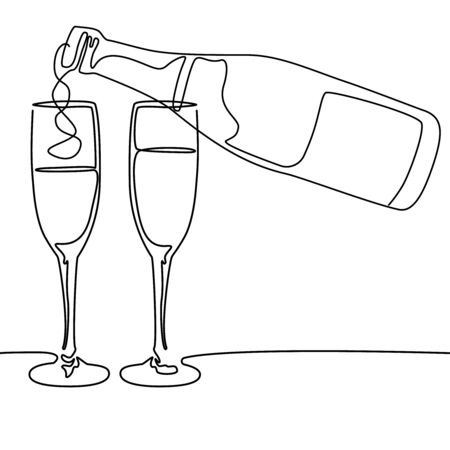Continuous line drawing. Bottle and glass of champagne wine. Vector illustration