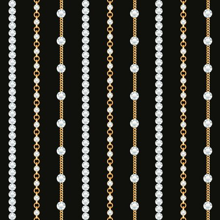 Seamless pattern of Gold chain lines on black background. Vector illustration Иллюстрация
